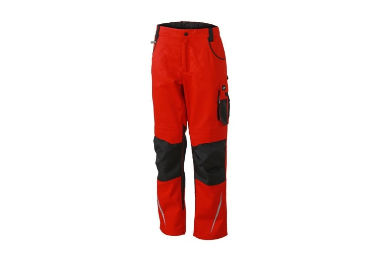 James and Nicholson Mens Workwear Pants (Red/Black) (32L)