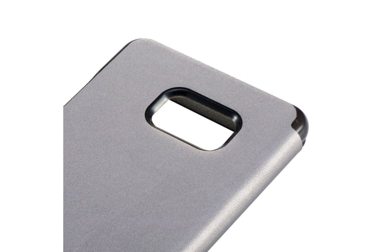 For Samsung Galaxy Note FE Case Baseus Leather Caller ID Display Cover Grey