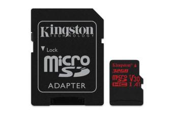 Kingston 32GB microSDHC Canvas React 100Mb/s U3 UHS-I V30 A1 Card with SD Adapter