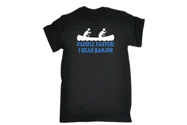 123T Funny Tee - Paddle Faster I Hear Banjos - (XX-Large Black Mens T Shirt)