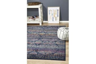 Hazel Navy & Multi Durable Vintage Look Rug