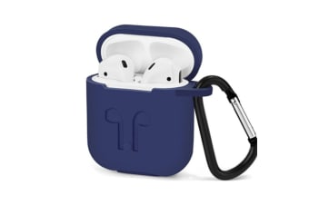 AirPods Case with Strap Protective Silicone Cover with Carabiner for Apple Airpods Accessories Blue