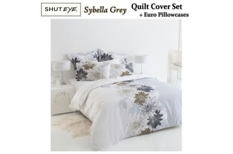 Sybella Grey QUEEN Quilt Cover Set + Euro Pillowcases by Shuteye