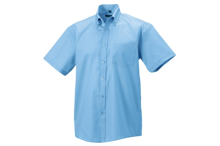 Russell Collection Mens Short Sleeve Ultimate Non-Iron Shirt (Bright Sky) (14.5inch)