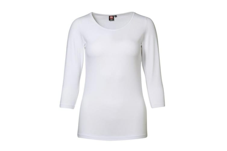 ID Womens/Ladies 3/4 Sleeve Stretch Fitted T-shirt (White) (M)