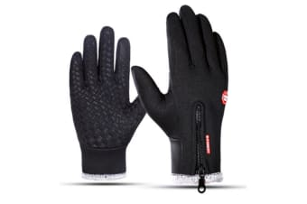 Outdoor Winter Thick Cold Skiing Warm Touch Screen Sports Gloves - Black Black M