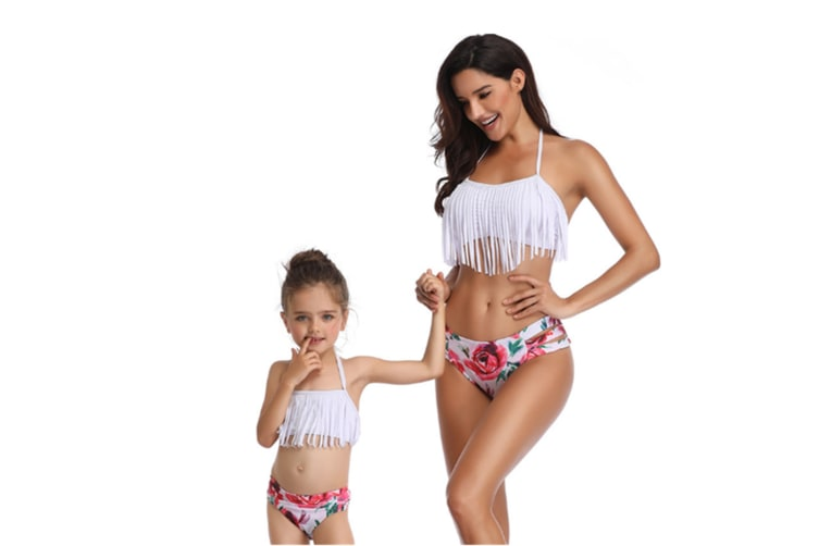 Tassels Family Matching Swimsuits Mom And Daughter Swimwear Bikini White 128