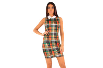 Lili London Womens/Ladies Katelynn Collared Bodycon Dress (Green Check)