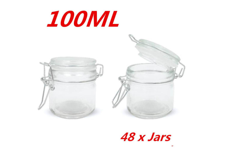 48 x 100ml Small Spice Glass Jars Clip Lid Bottle Jam Storage Container Jar Clip Lock