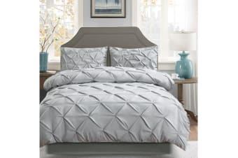 Diamond Pintuck Duvet/Doona/Quilt Cover US Size in GREY - Queen