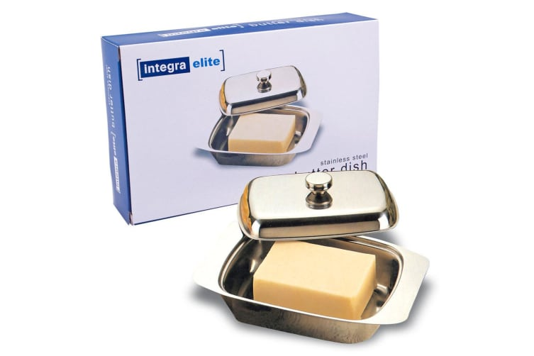 Integra Elite Stainless Steel Butter Spread Tray Holder Container Dish w  Lid