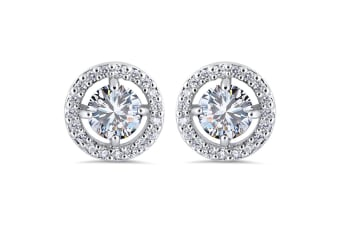 Cosmos Studs-White Gold/Clear