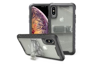 Grey Honeycomb For iPhone XS MAX Case Armour Phone Cover KickStand