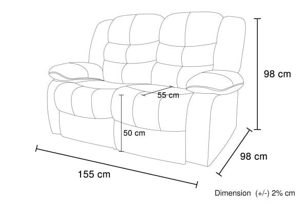 Bonded Leather Dream 2 Seater Recliner Couch (Brown)