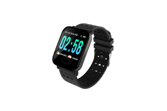 A6 Big Color Screen Smart Watch Blood Pressure Removable Strap Wristband Black