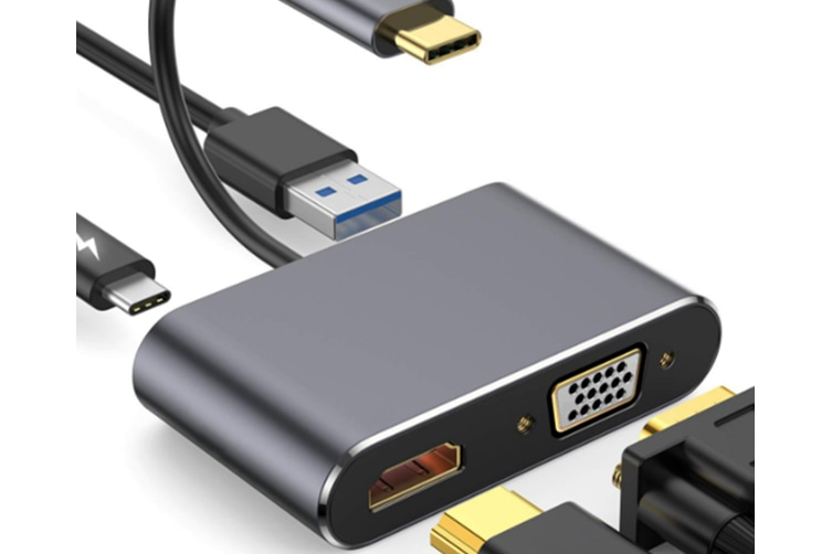 Select Mall Type-c Turn HDMI VGA 4-in-1 Transfer Cable Type C Turn HDMI 4K 30hz HD Conversion Line-Grey