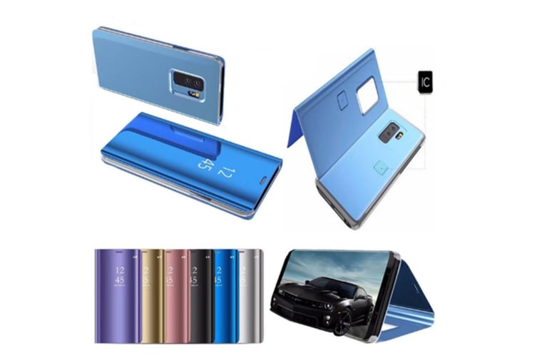 Mirror Case Translucent Flip Full Protection Stand For Samsung Blue Samaung A9/2019