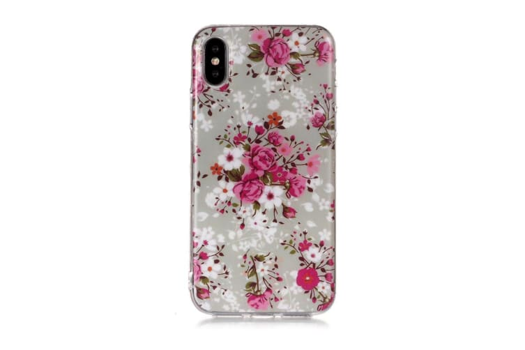 For iPhone XR Case Rose Flower Pattern TPU Protective Back Cover Grippy Texture