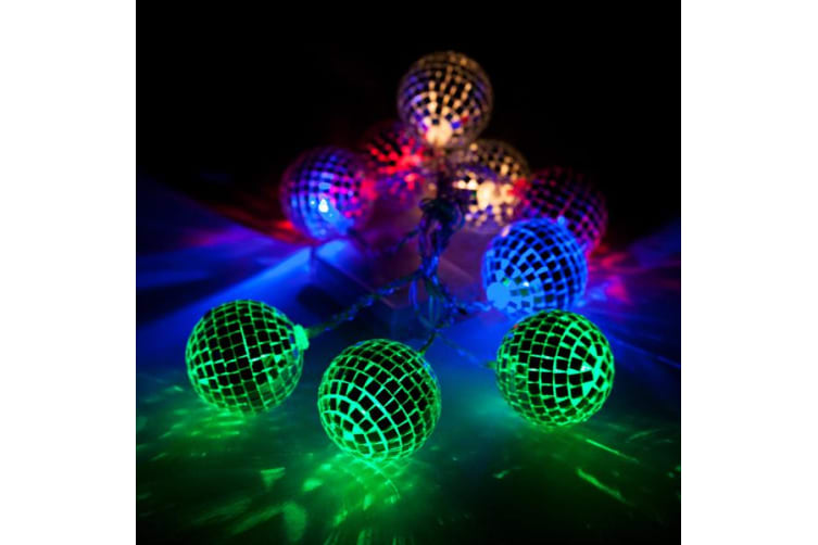 Retro Disco Ball Glam String Party Lights Led White Outdoor Indoor Battery