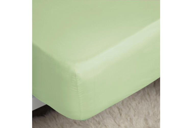 Belledorm 200 Thread Count Cotton Percale Deep Fitted Sheet (Mint) (Superking)