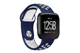 Fitbit Versa Bands Sport Silicone Breathable Strap Replacement Blue&White