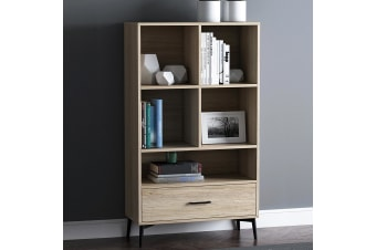 Wooden Bookcase Oak 3 Tier Display Shelving Cupboard Book CD DVD Storage Unit