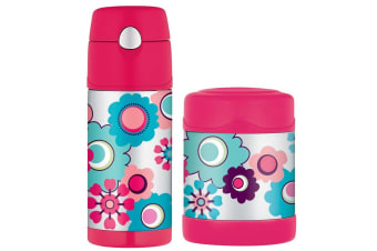 """Thermos Funtainer 290ml Food Container + 355ml Drink Bottle """"flowers"""""""