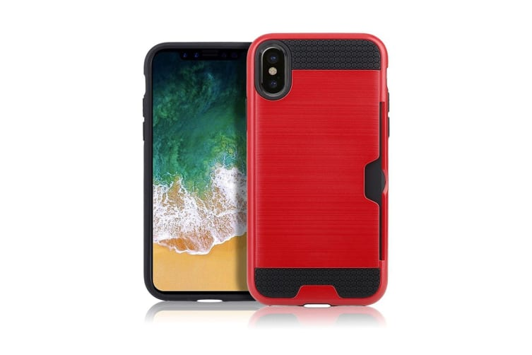 For iPhone XR Case Red Brushed Metal Texture Shockproof Strong Cover