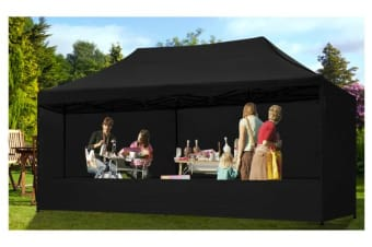 3x6m Gazebo Outdoor PopUp Tent Folding Marquee BLACK