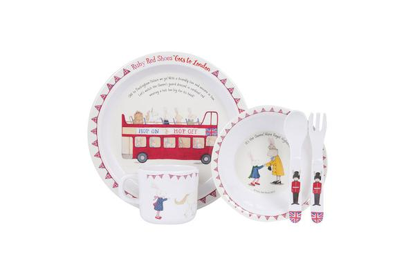 Ashdene Ruby Red Shoes Goes To London Dinner Set 5pc Hop On Hop Off