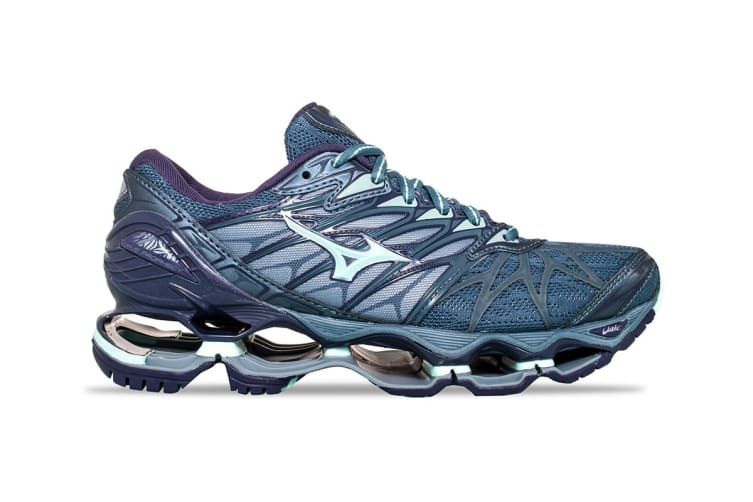 Mizuno Women's WAVE PROPHECY 7 Running Shoe (Grey/Blue/Purple, Size 7.5 US)