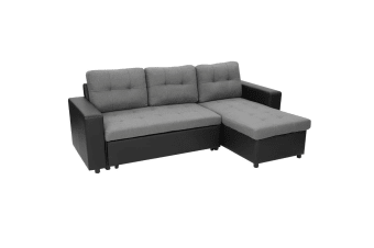 3-Seater Corner Sofa Bed With Storage Lounge Chaise Couch - Black Grey