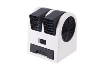 Select Mall Creative Mini Double Hole Fan Without Leaf Cooling Fan Quiet Fragrance Portable USB Desktop Small Fan-Black