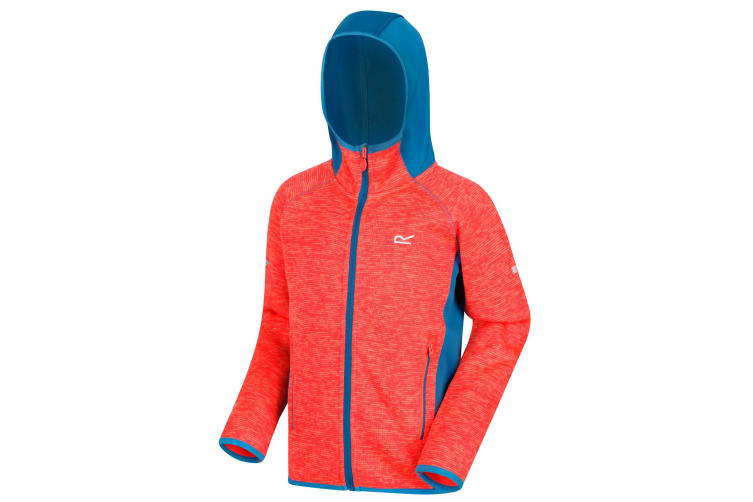 Regatta Childrens/Kids Dissolver II Hooded Fleece (Fiery Coral/Petrol Blue) (11-12 Years)
