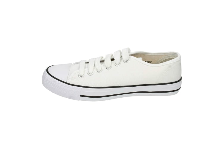 Spot On Womens/Ladies Low Cut Canvas Lace Up Shoes (White) (8 UK)