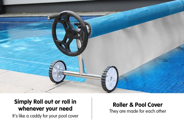 400micron Swimming Pool Roller Cover Combo - Silver/Blue - 9.5m x 5m
