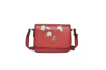 Fable Womens/Ladies Blossom Embroidered Crossbody Bag (Red)