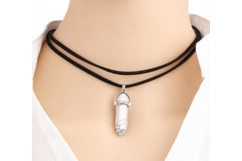 Handmade Black Pu Leather Healing Hexagon Natural Stone Pendant BFF Choker Necklace White