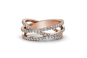 Soulmate Ring w/Swarovski Crystals-Rose Gold/Clear Size US 7