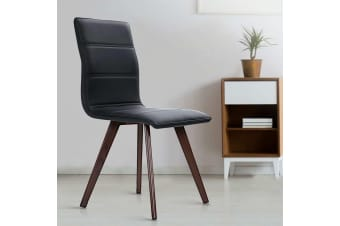 Artiss Dining Chairs Retro Chair Metal Leg High Back Kitchen PU Leather Black x2