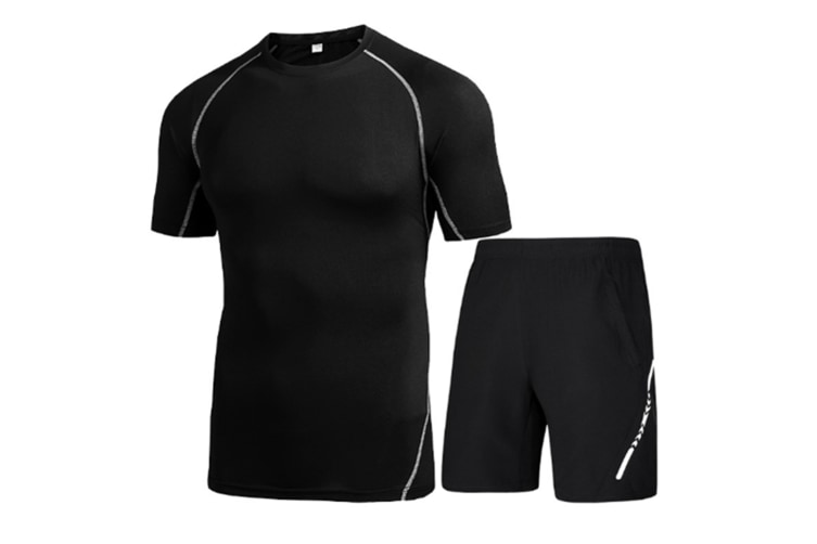 Mens Sport Short Sleeve T-Shirt Athletic Pants Sweatsuits 2 Pcs Black 2Xl