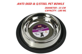2 x 180ml 15cm Anti-Skid Stainless Steel Pet Dog Cat Puppy Water Food Feeder Bowl Dish Stand