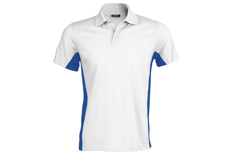 Kariban Mens Short Sleeve Flag Polo Shirt (Dual Colour) (White/Royal) (XL)
