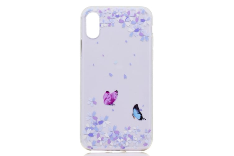 For iPhone XS X Case  Prismatic Butterflies Durable Grippy Protective Cover
