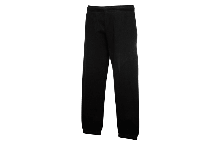 Fruit Of The Loom Kids Unisex Premium 70/30 Jog Pants / Jogging Bottoms (Pack of 2) (Black) (12-13)
