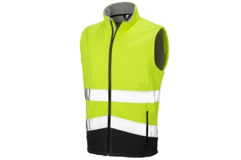 Result Safeguard Mens Printable Safety Softshell Gilet (Fluorescent Yellow/Black) (3XL)