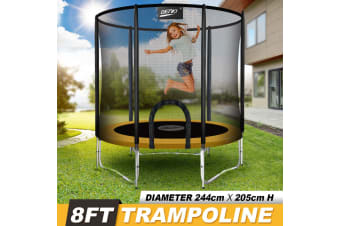 Genki 8ft Trampoline with Safety Enclosure Net