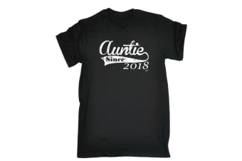 123T Funny Tee - 218 Auntie Since - (Large Black Mens T Shirt)