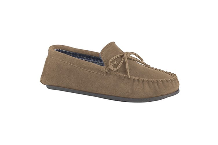 Mokkers Mens Bruce Real Suede Moccasin Slippers (Taupe) (13 UK)