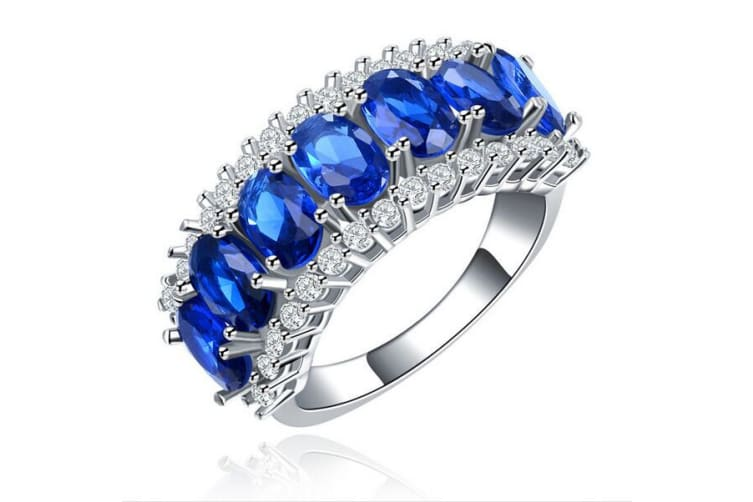 White Gold Plated Blue Crystal Fashion Ring 7
